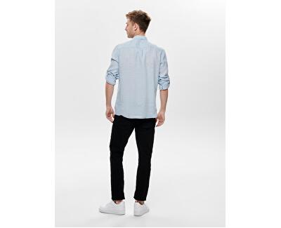 Herrenhemd ONSLUKE LS LINEN SHIRT NOOS Cashmere Blue