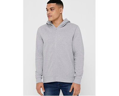 Herren Sweatshirt ONSORGANIC REG ZIP HOODIE SWEAT Medium Grey Melange
