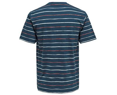 Pánske tričko Leonard Stripe Ss Tee Majolica Blue
