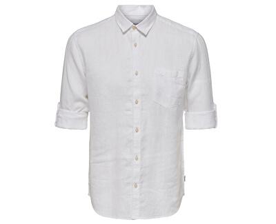 Herrenhemd ONSLUKE LS LINEN SHIRT NOOS White