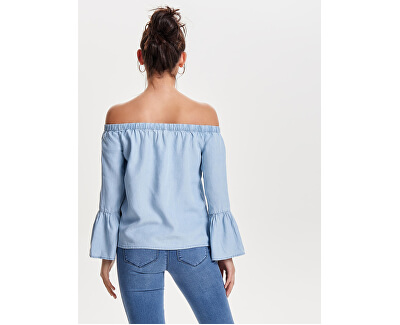 Doamnelor T-shirt Sandy Off Shoulder DNM Top Light Blue Denim