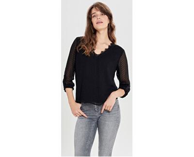 Bluza de damă ONLMACY L/S FOLD UP TOP WVN Black