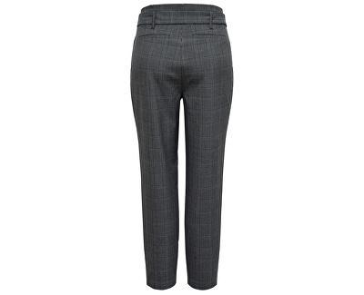 Dámske nohavice ONLNICOLE CHECK PAPERBAG PANTS WVN Dark Grey Melange