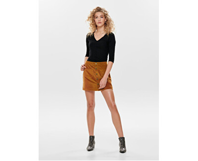 Damen T-Shirt ONLGINA 3/4 V-NECK TOP JRS schwarz