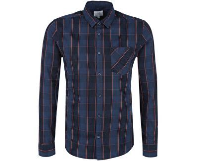 Q/S designed by Albastru carouri cămașă plus slim fit pentru bărbați