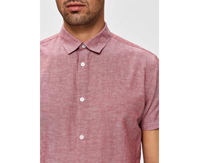 Pánská košile Slimlinen Shirt Ss Classic B Brick red Tops B 9