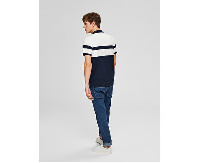Herren Polo-Shirt SLHARO EXKLUSIV SS POLO W Egret platziert Stripe