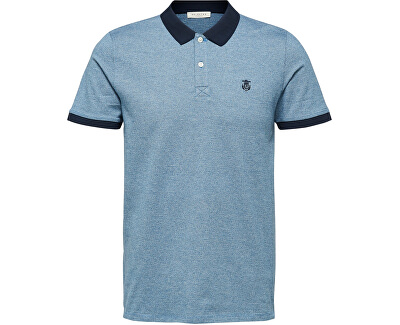 Herren Polo-Shirt SLHARO EXKLUSIV SS POLO W Vallarta Blue Jacquard