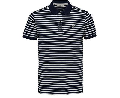 Tricou polo pentru bărbați SLHARO STRIPE SS EMBROIDERY POLO W Dark Sapphire Egret