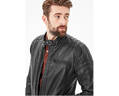 S.Oliver Bărbați černá jacheta din imitație de piele