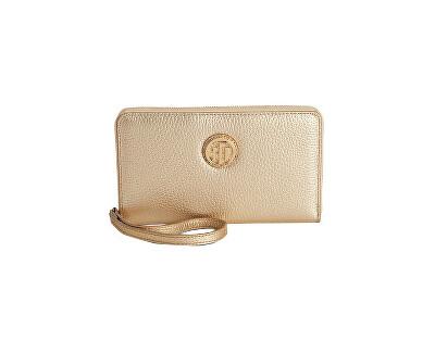 1e23f68f9 Tommy Hilfiger Dámska zlatá peňaženka Pebble Leather Carryall Wristlet