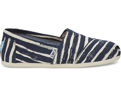 TOMS Femeie de Slip-On Navy Paint ed Stripe Seasonal Class ic s Alpargata s