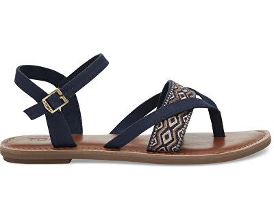 Sandale cu curelușe albastre întunecat Navy Canvas Embroidery Lexie Sandals
