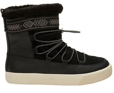 TOMS Dámské sněhule Black Leather/Suede/Faux Fur