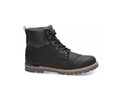 TOMS Pánské černé pohorky Wp Black Leather Br Wool Ashland