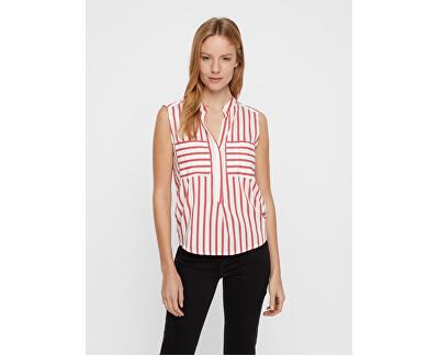 Női felsőErika S/L Stripe Shirt Color Snow White/Red