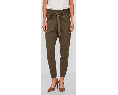 Pantaloni pentru femei VMEVA HR LOOSE PAPERBAG PANT NOOS KI Ivy Green