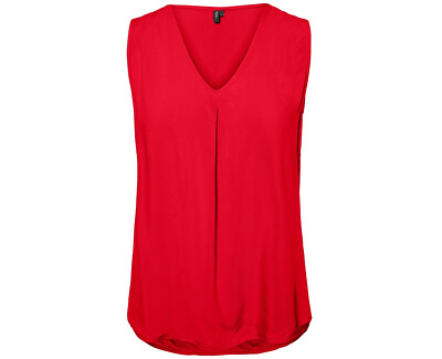 Női felsőEva V-Neck S/L Top Color Chinese Red