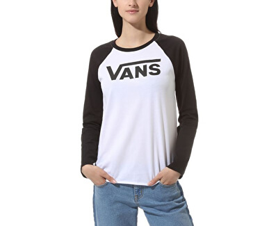 Dámské triko Flying V Classic Ls Raglan White/Black VN0A47XYYB21