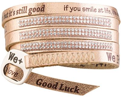 We Positive Wrap náramek v barvě růžového zlata s nápisy a krystaly Swarovski Elements Rose Gold SW003