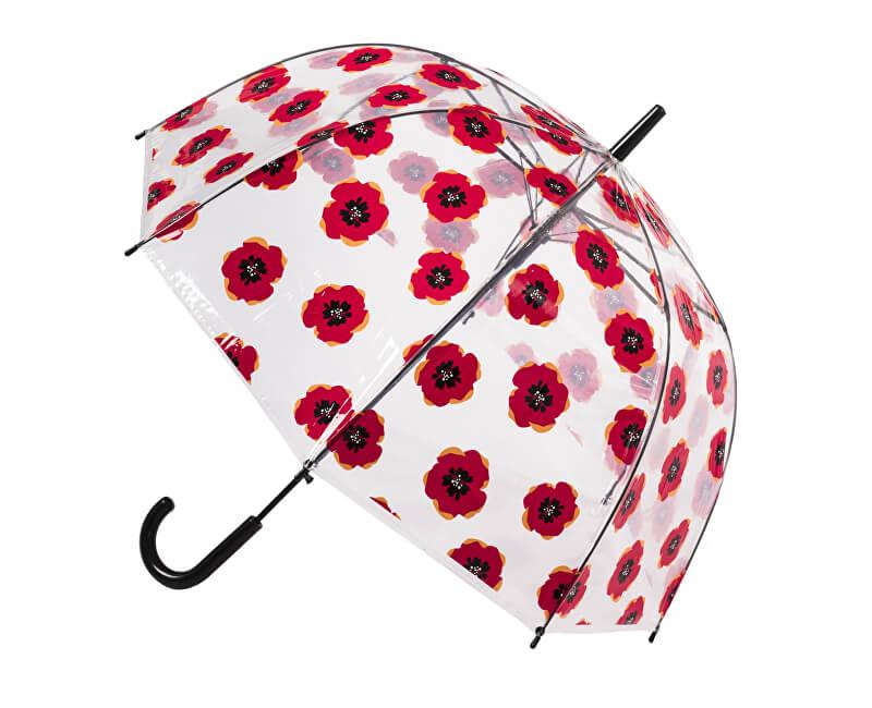 Blooming Brollies Umbrelă transparentă cu tijă pentru femeiClear Dome Stick With A Poppy Design POESPOP