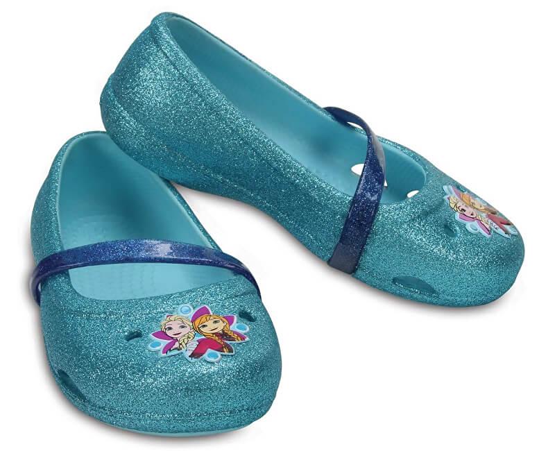 Crocs Dětské baleríny Crocs Lina Frozen Flat Ice Blue 204454-4O9