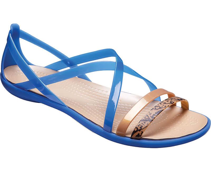 17c02aeac71c Crocs Damen Sandaletten Isabella Grph Strappy Sandal Blue Jean Gold  205084-4HT Aktion