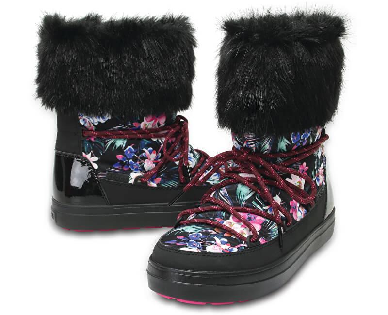 Crocs Dámské sněhule LodgePoint Graphic Lace Boot W Tropical/Black 204791-95W
