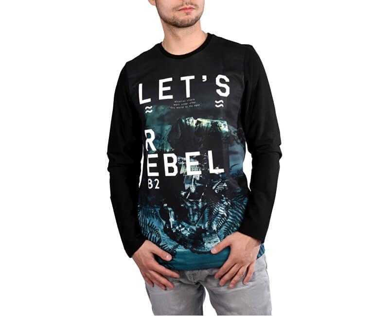 367fdd176 Cars Jeans Pánske čierne tričko s potlačou Asso Black 4507201 ...