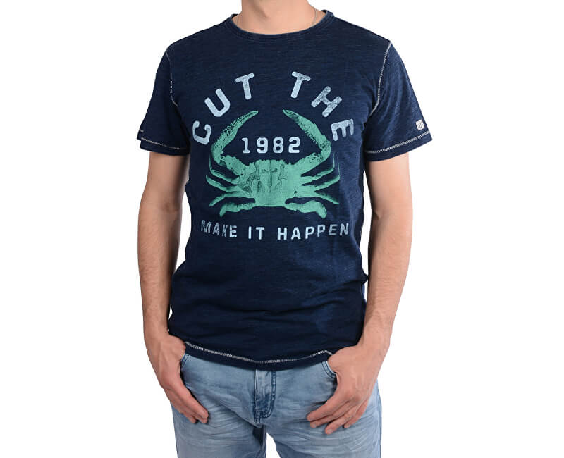 Cars Jeans Pánské tmavě modré tričko s potiskem Rodrigo Indigo 4218211