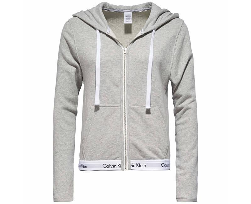 942c627fc Calvin Klein Dámská mikina Modern Cotton Linen Extension Top Hoodie Full  Zip QS5667E-020 Grey