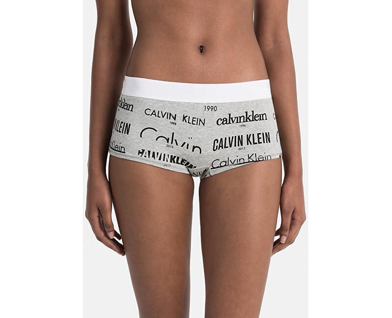 Calvin Klein Dámské kalhotky Boyshort QF4060E-HLB Heritage Logo/Grey Heather Black