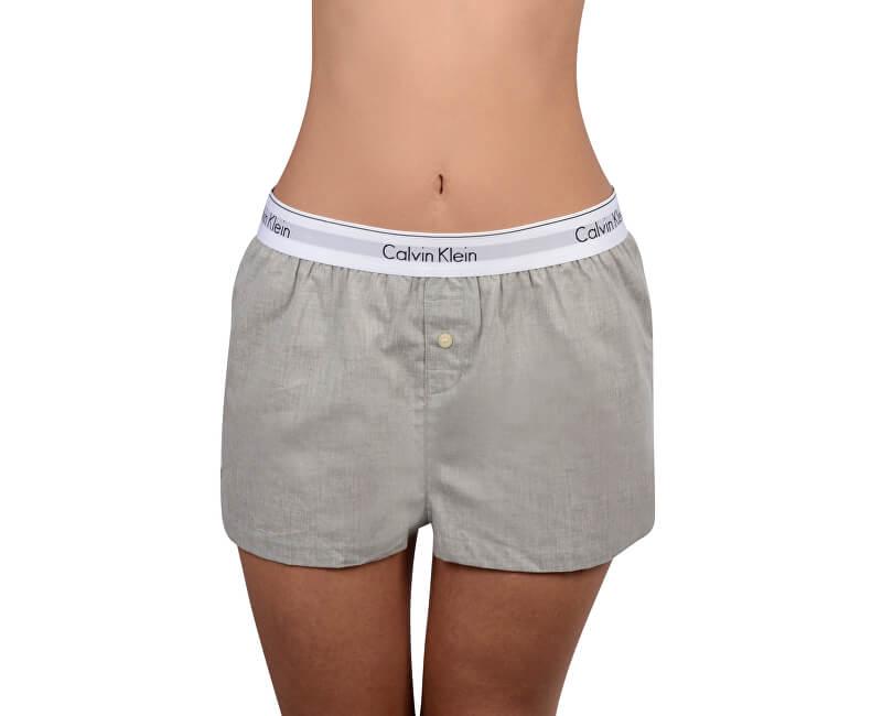 e949c68c86 Calvin Klein Dámske pyžamo - kraťasy Woven Boxer Short Grey Heather QS6080E