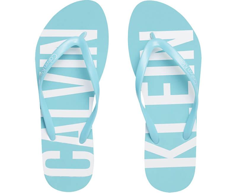 Calvin Klein Șlapi femei FF Sandal KW0KW00023-480 Blue Radiance