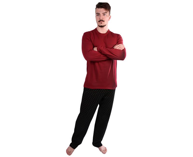 Calvin Klein Pánské pyžamo Pant W L/S Crew NM1469E-YLS Shadow Dot Print Black/Dylan Red