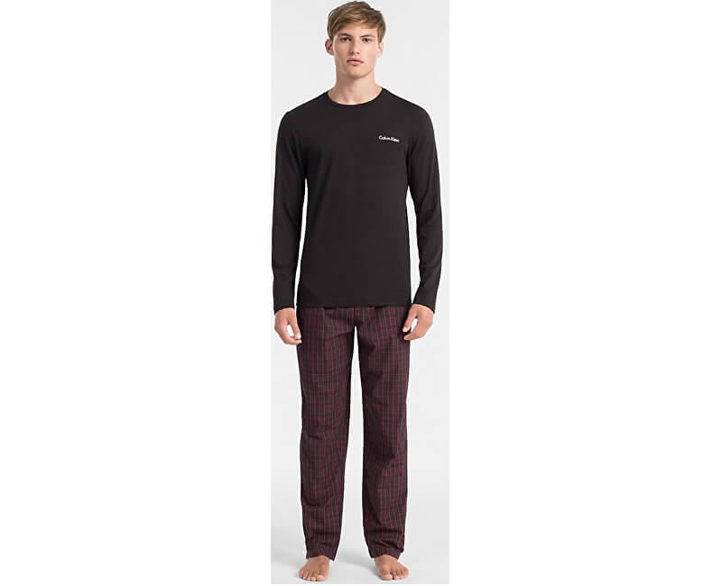 Calvin Klein Pánské pyžamo Pj Pant W L/S Crew NM1472E-WLC Will Plaid/Black