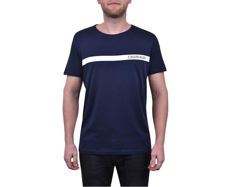 Calvin Klein Pánské triko Relaxed Crew Tee KM0KM00329-445 Blue Shadow