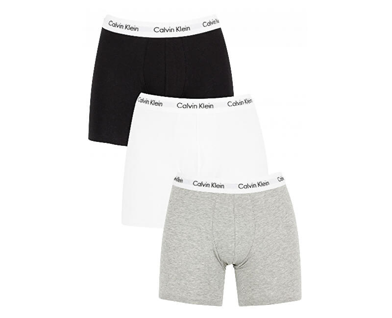 Calvin Klein Sada boxeriek Cotton Stretch 3P Boxer Brief NB1770A-MP1 Black,White,Grey Heather