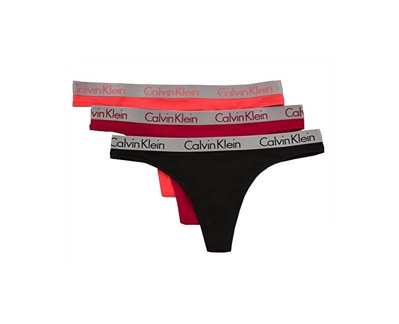 bc973024c3 Calvin Klein Sada dámskych nohavičiek Thong 3P Ember blaze Black Pink mango  QD3590E -