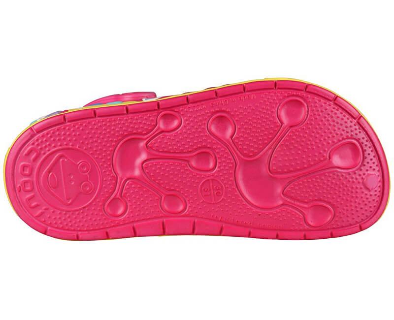 Coqui Dětské pantofle Froggy 8802 Lt. fuchsia Yellow 102343 - SLEVA ... 44a15c339a