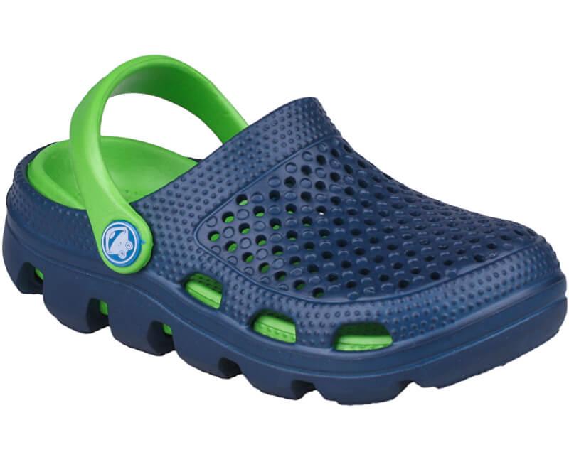 Coqui Dětské pantofle Bugy 6101 Navy/Lime 100180