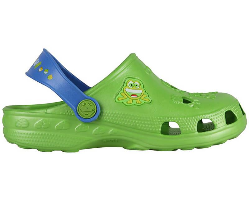 Coqui Dětské pantofle Little Frog Lime/Royal 8701-100-1420