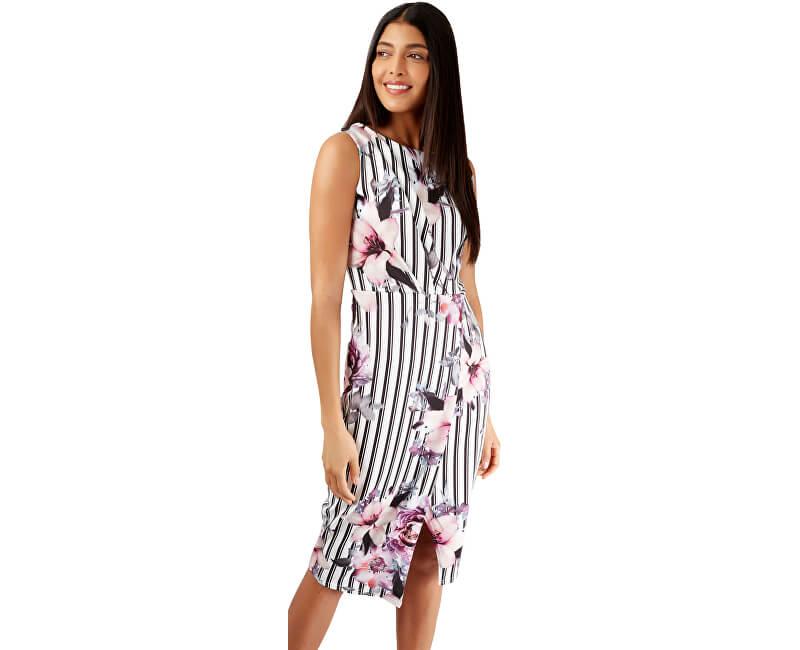 54c9cb300 Closet London Dámske šaty Floral and Striped Wrap Pencil Dress Ivory Novinka