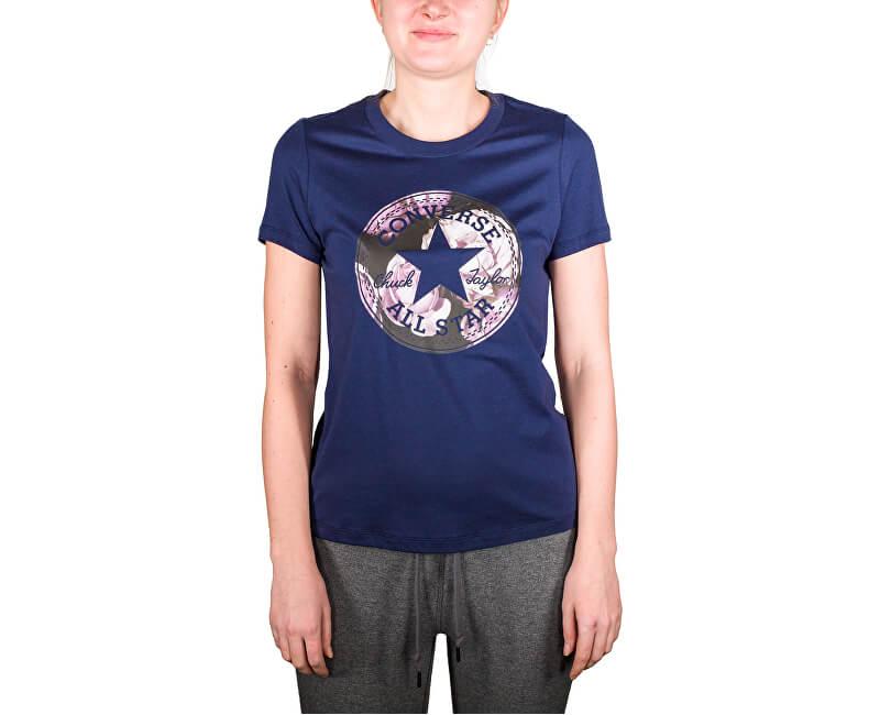 Converse Dámské triko Floral CP Fill Crew Tee Midnight Navy