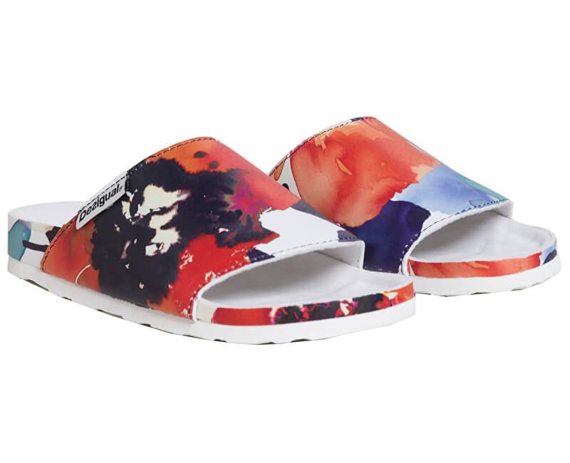 Desigual Dámské pantofle Sandal Camoflower Blanco 19SUBK01 1000