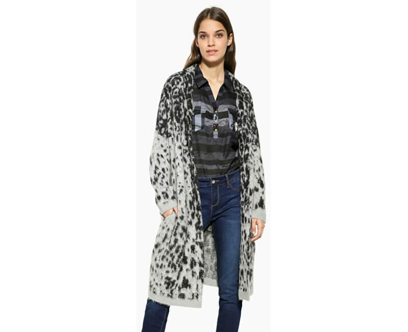 Desigual Pulover pentru femei Jers Jacheta Grey Leopard 17WWJFC4 2023