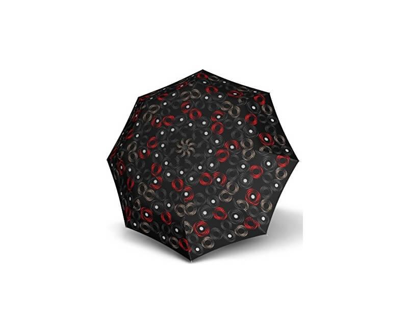 Doppler Dámský skládací automatický deštník Fiber Magic Sofia černo-červená 7441465SA03