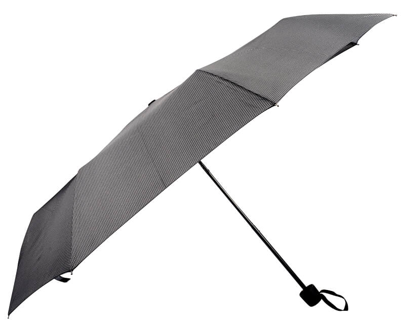 Doppler Dámský skládací mechanický deštník HIT šedočerný s kostičkou 700167P03