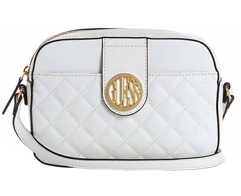 Guess Dámska crossbody kabelka Factory Plush Quilted Camera Crossbody White