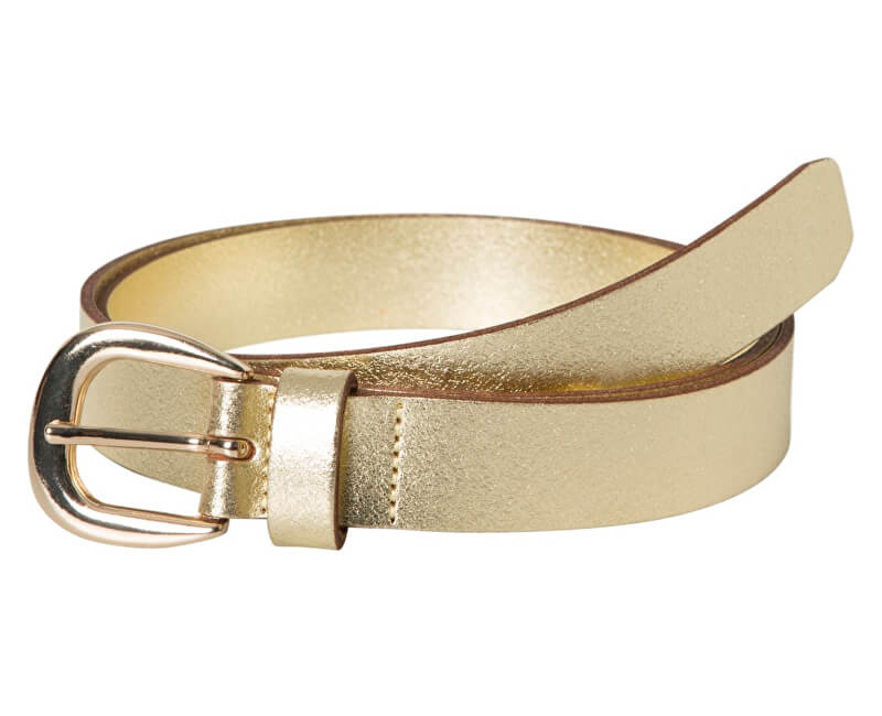 Pieces Dámsky kožený opasok Licia Leather Jeans Belt Gold Colour